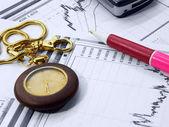Ball-point pen on business analyze — Stock Photo