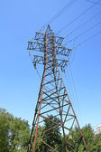 Electricity line, high voltage tower — Stock Photo