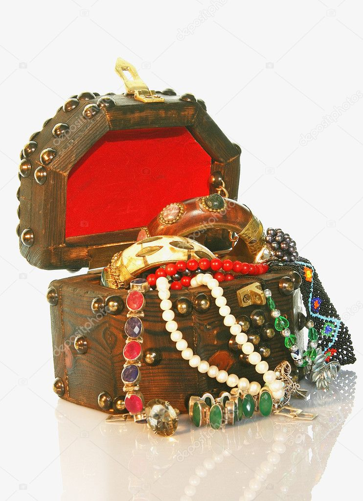 TREASURE CHEST wooden  small box with jewelry  Stock Photo #1500699