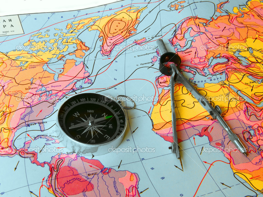 Compass and map  Stock Photo #1503030