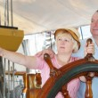 Stock Photo: At helm of sailboat