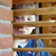 Stock Photo: Little boy looking through the blinds