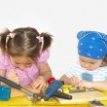 Two children play — Stock Photo