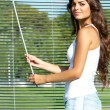 Stock Photo: Girl looks through blinds