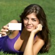 Stock Photo: Beautiful girl with business card