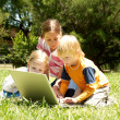 Three Little Hackers In The Park — Stock Photo