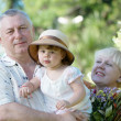 Little girl with grandfather and grandmother in the park — Stock Photo