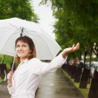 Beautiful girl with a white umbrella — Stock Photo
