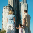 Family in the park watching the construc — Stock Photo