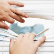 Hands apart on the window blinds — Stock Photo #1533773