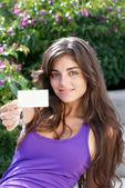 красивая девушка с визитной карточки — Стоковое фото
