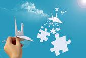 Hand-launch-papier-taube — Stockfoto