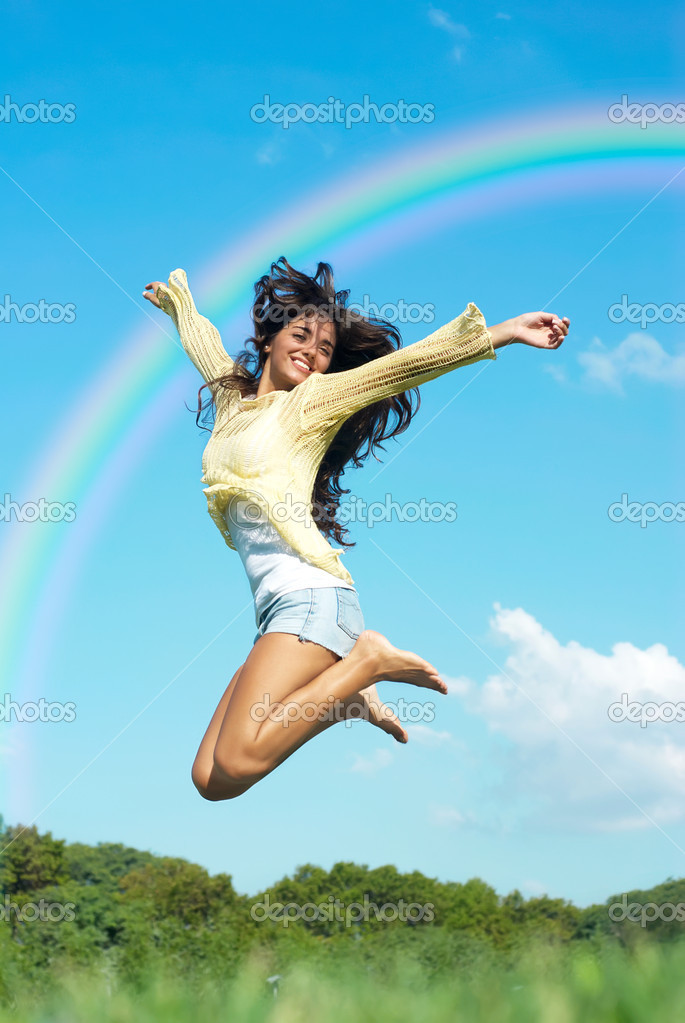 Beautiful girl jumping in the park no sky backgroound — Stock Photo #1530960