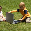 Little hackers in the park — Stock Photo