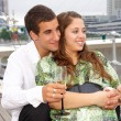 Couple on the sailboat — Stock Photo