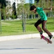 Stock Photo: Guy rides skateboard