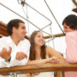 Stock Photo: On sailboat