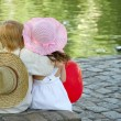 Boy and girl in park - Foto Stock