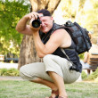 Fellow photographer in the park — Stock Photo