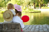 Boy and girl in the park — Stok fotoğraf