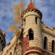 Corner tower of the Gothic castle — Stock Photo