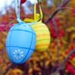 Easter eggs in spring garden — Stock Photo