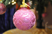 Pink christmas ball — Stock Photo