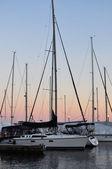Yacht on sunset — Stock Photo