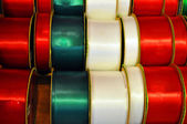 Red green and white Christmas ribbons — Stock Photo