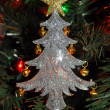 Silver christmas tree ornament — Stock Photo