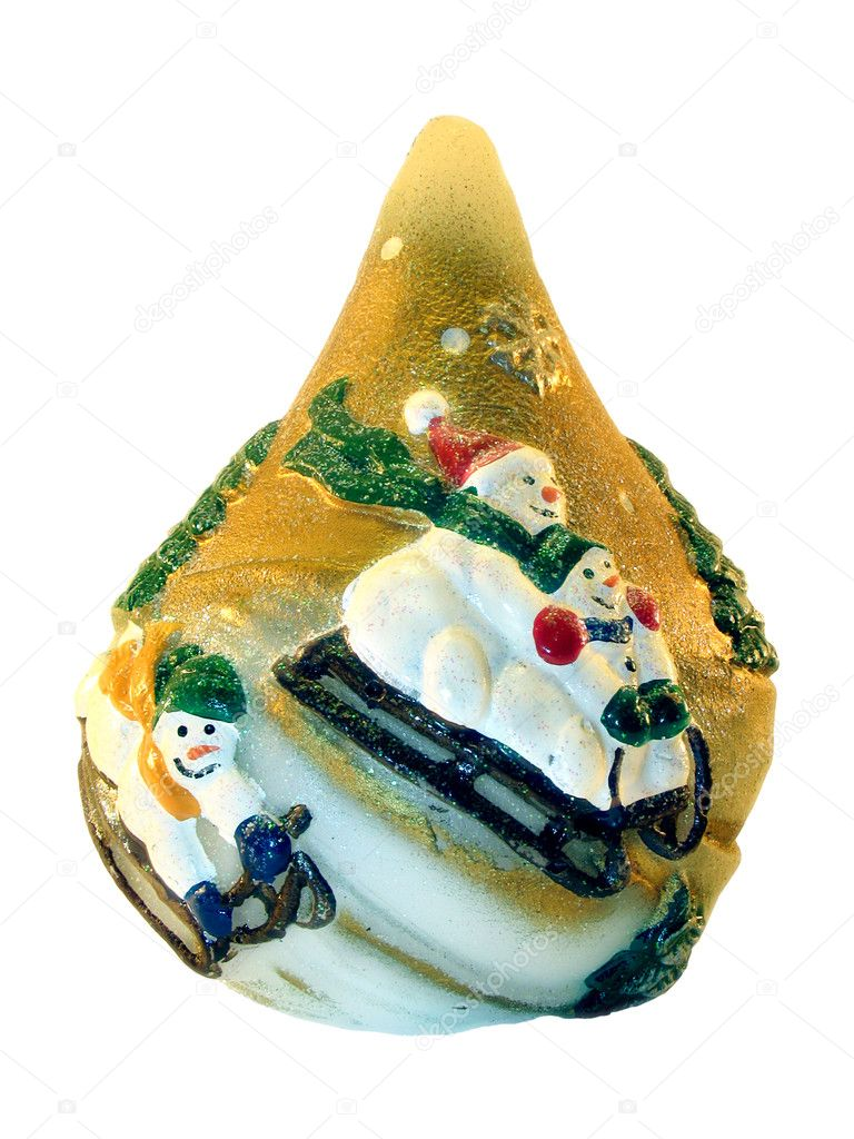 On a souvenir are represented the snowmans which are going for a drive on sledge . It is isolated on a white background. — Stock Photo #1837966