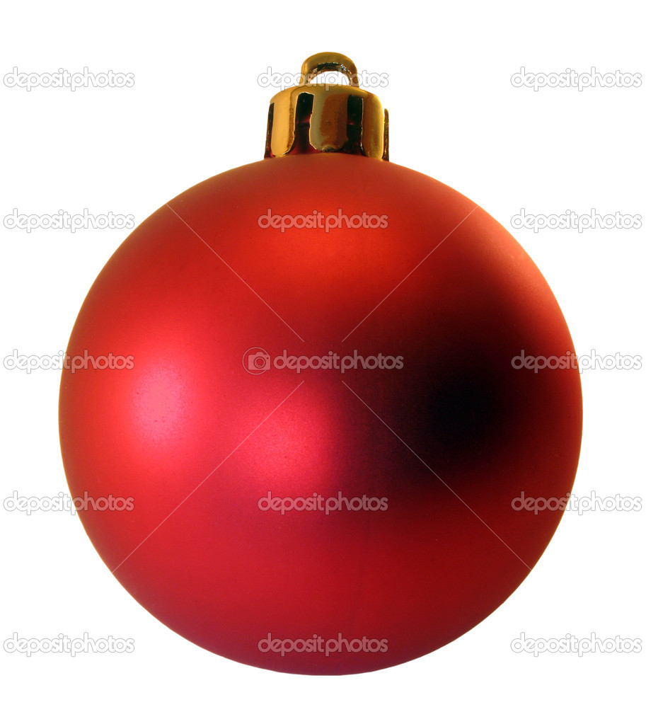 Decoration for a christmas tree - a red sphere. It is isolated on a white background. — Stock Photo #1838017