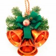 Christmas ornament with hand bells - Stock Photo