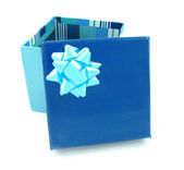Open blue gift box — Stock Photo