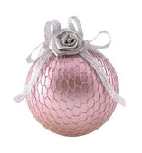 Pink with silver sphere for Xmas tree — Stock Photo