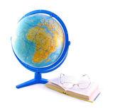 Globe, book and glasses — Stock Photo