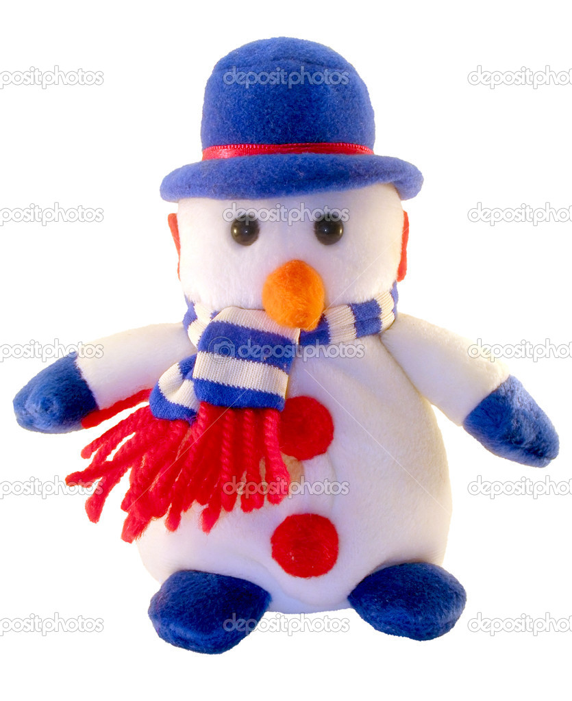 Soft toy a snowman in a hat and a scarf. It is isolated on a white background. — Stock Photo #2001764