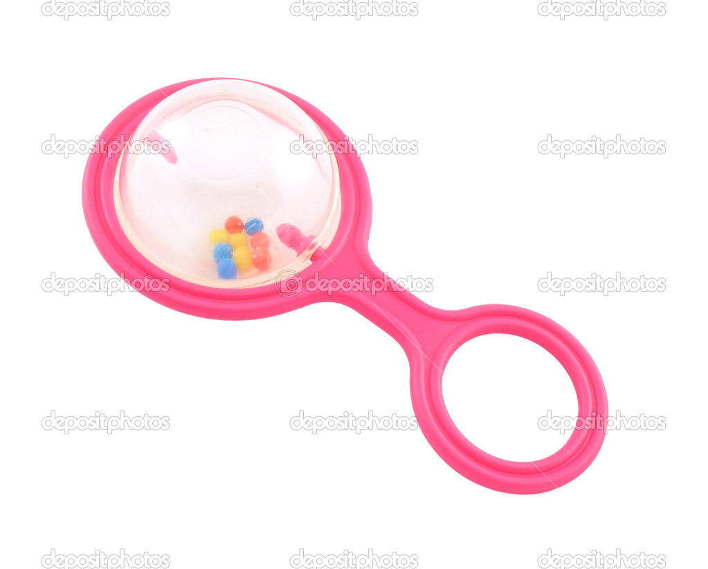 Children's pink rattle with balls. It is isolated on a white background. — Stock Photo #2002301