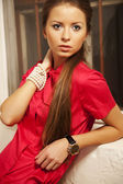 Woman in red shirt — Stock Photo