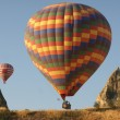 Hot air balloons above a gorgeous lands — Foto Stock