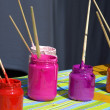 Different kinds of paint for a child — Stock Photo