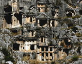 Tombs build in the hills of myra — Stock Photo