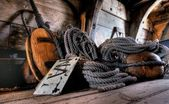 Antique nautical equipment on a ship — Stock Photo