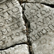 Ancient stone with latin inscription - Stock Photo