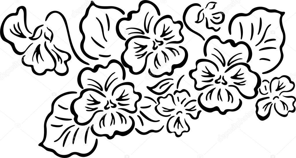 Трафарет росписи цветами