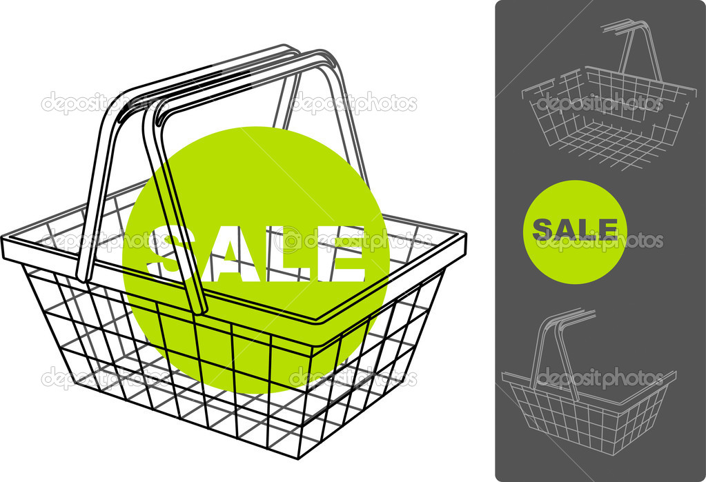Supermarket basket with separated backgrounds and foregrounds for filling. retail — Stock Vector #1509924