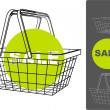 Stock Vector: Supermarket basket