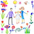 Child draw happy family — Stock Photo