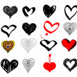 Stock Vector: Valentines hearts set