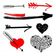 Royalty-Free Stock Imagen vectorial: Hearts and arrows elements